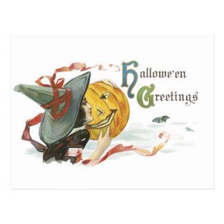 Halloween démodé, sorcière et feu follet carte postale