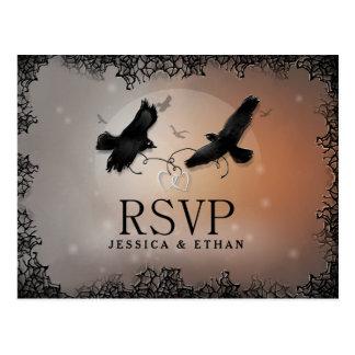 Halloween Ravens épousant la carte postale