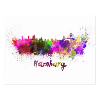 Hambourg skyline in watercolor carte postale
