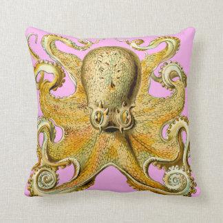 hanche d'abrégé sur poulpe d'or de quartz rose coussin
