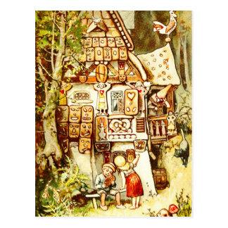 Hansel et Gretel au cottage de pain d'épice Cartes Postales