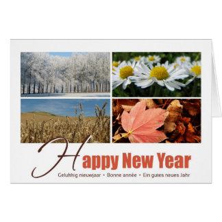 Happy New Year - 4 seasons greeting card Carte De Vœux