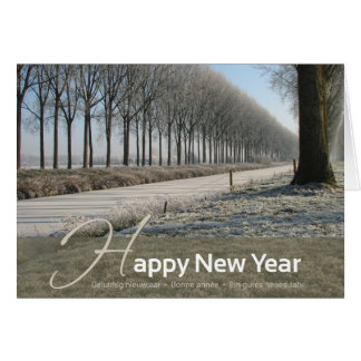 Happy New Year - hiver card - 4 languages Carte De Vœux