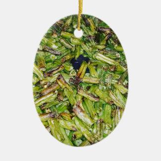 Haricots verts… ornement ovale en céramique