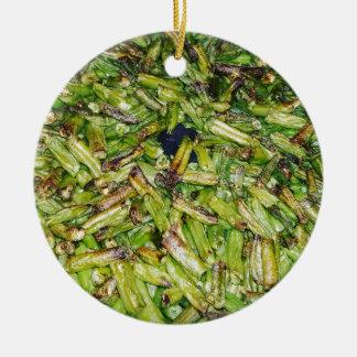 Haricots verts… ornement rond en céramique
