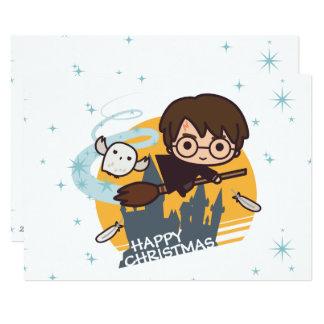 Harry en Hedwig Flying Past Hogwarts Christmas Kaart
