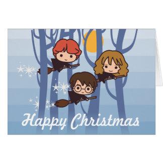 Harry, Ron, et vol de Hermione dans Noël en bois Carte De Vœux