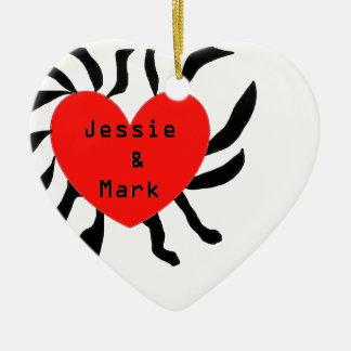 HART JESSIE AND MARK.png Keramisch Hart Ornament