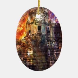 Hausse encore Angkor Ornement Ovale En Céramique