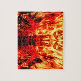 Haut-parleur de musique avec des flammes puzzle