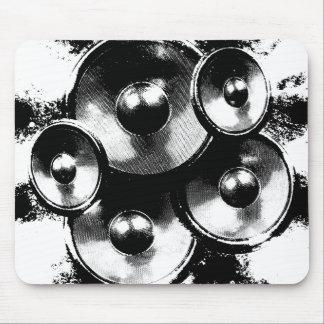 Haut-parleurs noirs et blancs de musique tapis de souris
