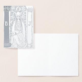 Haute carte de tarot d'argent de prêtresse