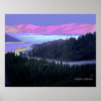 Hayfork psychédélique, vue de la Californie…. Poster
