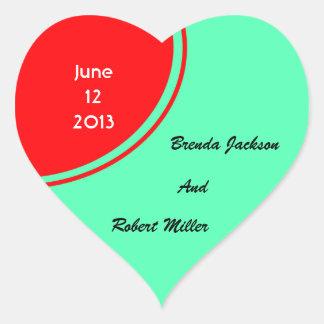 Helder Oranje Groen Modern Huwelijk Hartvormige Stickers