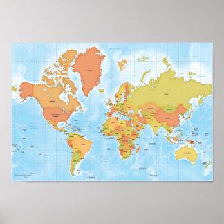 Heldere kaart van de wereld plaat