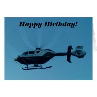 Hélicoptère dans la carte d'anniversaire de