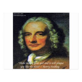"""Henry Fielding """"si citation de votre Dieu de Carte Postale"""