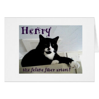 Henry la carte de note féline d'artiste de fibre