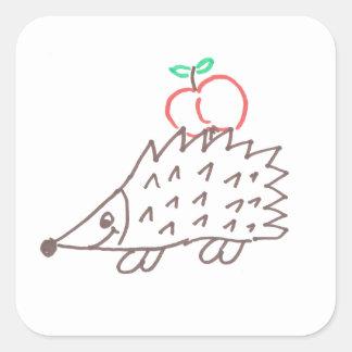 Hérisson doux avec la pomme autocollant