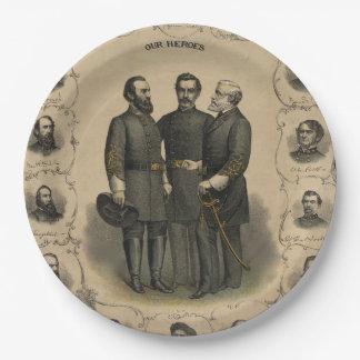 Héros de guerre civile assiettes en papier