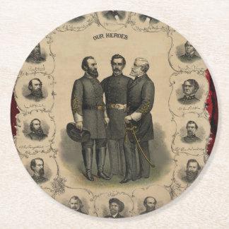 Héros de guerre civile dessous-de-verre rond en papier