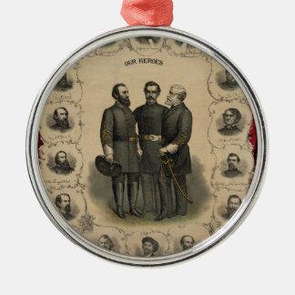 Héros de guerre civile ornement rond argenté