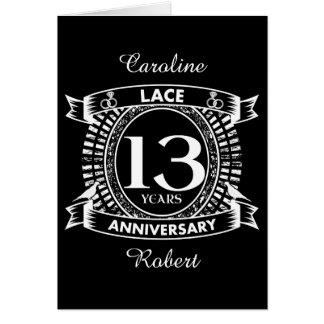het 13TH kant van de huwelijksverjaardag Briefkaarten 0