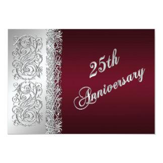 het 25ste Jubileum Bourgondië, Zilveren Rollen 12,7x17,8 Uitnodiging Kaart