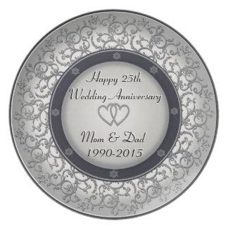 het 25ste Jubileum van de Zilveren bruiloft Bord