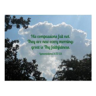 Het 3:22 van klaagzangen - 23 Zijn medeleven ontbr Wenskaarten