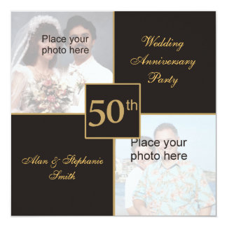 het 50ste Jubileum van het Huwelijk toen & nu 13,3x13,3 Vierkante Uitnodiging Kaart