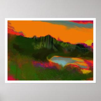 het abstracte landschap van de de poster