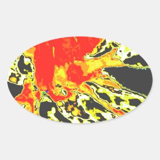Het abstracte Oranje BloemenPatroon van de Bloem Ovale Sticker
