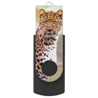 Het Afbeelding van de Foto van de luipaard Swivel USB 2.0 Stick