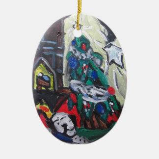 Het afbeelding van Kerstmis Keramisch Ovaal Ornament