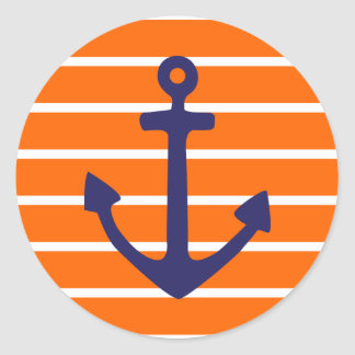 Het Anker van de marine op Oranje Streep Ronde Stickers