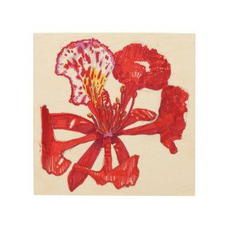 Het art. van de de bloemmuur van Poinciana Hout Afdruk