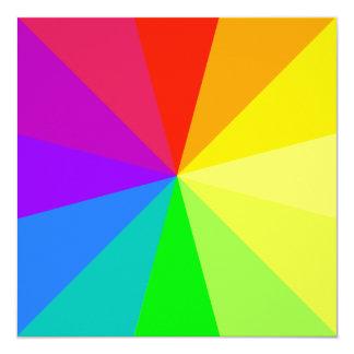Het Art. van de Kleuren van de regenboog 13,3x13,3 Vierkante Uitnodiging Kaart