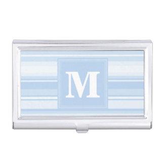 Het baby blauwe strepen van het monogram visitekaarthouder