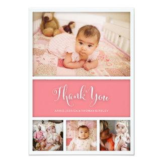 Het Baby van de Kleur van de douane dankt u eerst 12,7x17,8 Uitnodiging Kaart