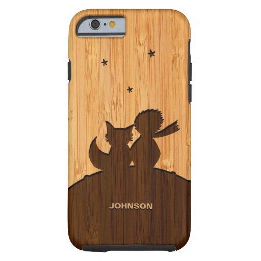 Het bamboe ziet eruit & graveerde Weinig Prins met Tough iPhone 6 Hoesje