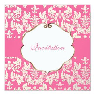 Het Barokke Damast van PixDezines/kleur Pink/DIY 13,3x13,3 Vierkante Uitnodiging Kaart