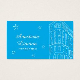 Het blauw van de makelaar in onroerend goed visitekaartjes