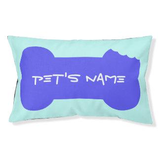 Het blauwe Gekauwde Been personaliseerde het Hondenbedden