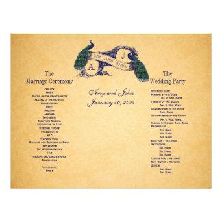 Het blauwe Programma van het Huwelijk van Pauwen V Folder Ontwerp