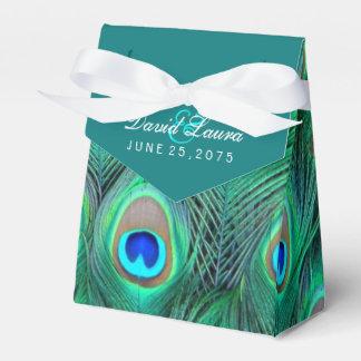 Het blauwgroen Blauwe Huwelijk van de Pauw Bedankdoosjes