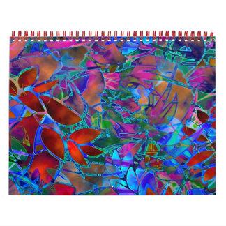 Het Bloemen Abstracte Gebrandschilderd glas van de Kalender