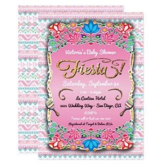 Het bloemen Mexicaanse Baby shower van de Fiesta Kaart