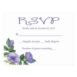 Het BloemenHuwelijk van de Paarse Waterverf RSVP Briefkaart