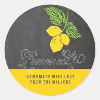 Het bordetiket van Limoncello faux Ronde Sticker